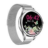smartwatch Damen,Yocuby Mode SmartWatch Fitness Tracker mit IP67 wasserdicht/Herzfrequenzmesser/Schlafmonitor/SMS Anrufbenachrichtigung/Schrittzähler/vollem Touchscreen smartwatch Android (Silber)