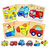 joylink Kinder Holzpuzzle Steckpuzzle, Holzpuzzle für Kinder 6 Stücke Holz Steckpuzzles für Kinder ab 1 2 3 Jahr Holzpuzzle Lernspielzeug Pädagogisches Kreativ Geschenk für Kinder