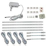 4VWIN LED Unterbauleuchte geeignete Lampe für die Küche, hinter Möbel, im Werkraum (6500K(kaltweiß), 4-SET)
