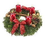 Adventskranz Weihnachtsglanz, 30 cm im Durchmesser,mit roten Kerzen