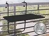Riyashop Balkontisch 60x40x68 cm Hängetisch Balkonklapptisch Balkonhängetisch Klapptisch(Schwarz)