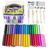 iFergoo 36 Farben Kinder Knete Starter Set, Polymer Clay Nontoxic DIY Polymer Ton Set Oven Bake Modellierung Ton Kinder Junge und Mädchen