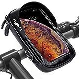 TURATA Fahrrad Lenkertasche Wasserdicht Rahmentaschen Multifunktional Motorrad Handyhalterung für 6' Handy, Personalausweis, Bankkarte, Kopfhörer -Schwarz