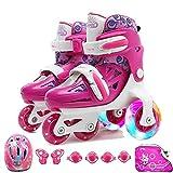 Kinder Anfänger Roller Skates for Junge Mädchen mit Protektoren Set Flash 4-Rad-Schuhe Adjustable (Color : B, Size : S)