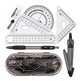 geometrie set, compass set, zirkel mathe-set, einschließlich kompass, winkelmesser, lineal usw. für schülermathematik, 8 stück (schwarz)