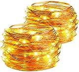 Lichterkette Batteriebetrieben, esLife 2 Stück 50 LED 8 Modi Lichterkette mit Timer, IP65 Wasserdicht Kupferdraht Außenbeleuchtung für Zimmer Weihnachten Hochzeit Party (Warmweiß)