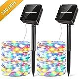 Solar Lichterkette Außen 27M 240 LED Lichterkette 8 Modi IP65 Wasserdicht PVC Lichterketten für Außen & Innen DIY Deko für Garten, Bäume, Schlafzimmer, Kinderzimmer, Hochzeiten, Partys usw[2 Packung]