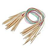 DIYARTS Bambus Rundstricknadeln Set 24 Zoll 31,5 Zoll 47 Zoll Stricknadeln Kit 18 Größen: 2 Mm-10 Mm (60cm)