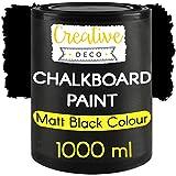 Creative Deco Schwarz Kreide-Farbe TafelfarbeWandfarbe | 1000ml | 10 m² / 1L Effizient | Matt Farbe für Möbel, Holz, Metall, Glas & andere | auf Wasserbasis | Ungiftig | Kreideschreiben und Zeichnen