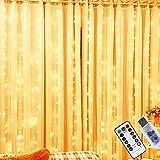 Lichtervorhang 100 LEDs, LED Lichterketten Lichtervorhang 3m x 1m, USB Vorhanglichter Innenbeleuchtung mit 8 Modi, Wasserfest LED Lichterkette Warmweiß für Party Schlafzimmer Innen und außen Deko