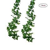 2 Stück Efeugirlande Künstlich Hängende Rebe 2.5M, 56 Stücke Größen Blätter Efeu Efeuranke Kunstblumen für Hochzeit Party Garten Festival Dekorationen Wanddekoration (grün 2Stück)