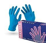VENSALUD Nitrilhandschuhe Einweghandschuhe Puderfrei Box mit 100 Handschuhen. Farbe: Blau (M)