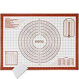 Amazon Brand - Eono Silikonmatte Backen Groß - 71x51cm Antihaft Silikon Backunterlage/Backmatte, rutschfeste Ausrollmatte/Teigmatte mit Messung Für Fondant Gebäck Pizza - Rot