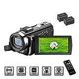 Camcorder Videokamera HD 1080P 24MP Video Camcorder, 16X Digitalzoom Kamera, 3,0 Zoll LCD Bildschirm, vlogging Kamera, Digitalkamera mit Fernbedienung, 2 Batterien