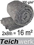 TEICHWERK 16 m² Teichvlies 300 g/qm Premium Schutzvlies Abdeckvlies Teich Vlies Flies Teichflies
