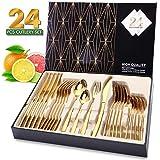 Elegant Life Besteckset Golden für 6 Personen aus Japan-Edelstahl, Tafelbesteck Set 24-teilig, nickelfrei, rostfrei, handpoliert, Mehrzweckgebrauch für Haus, Küche, Restaurant Besteck Sets