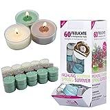 Smart-Planet® Kerzen Ambiente - 60 Stück Duft Teelichter Teelicht Set im Spender Fresh Cotton - transparente Hülle - 4 Stunden Lange Brenndauer