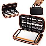 Orzly 2DS XL Case, Tasche für das Neu Nintendo 2DS XL - Aufbewahrungstasche / - Hartschalen Case/Cover/Hülle/Schutzhülle für die New Nintendo 2DS XL Konsole & Accesoires - ORANGE auf Schwarz