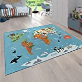 Paco Home Kinder-Teppich Für Kinderzimmer, Spiel-Teppich, Weltkarte Mit Tieren, In Grün, Grösse:80x150 cm