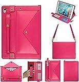 Yimiky iPad9.7 '' 2018/2017 Hülle, Smart Stand Hülle Slim Fit Cover Premium PU Ledertasche Tablet mit Auto Schlaf- / Weckfunktion und Trageriemen rutschfest für iPad Air/Air 2 Neues iPad