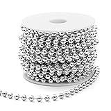 Naler Perlenband Silber Weihnachtsbaumkette Christbaumkette Weihnachtsbaum Perlengirlande Weihnachten Advent Hochzeit Party Deko - ∅ 6mm x 10M