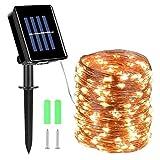 Herefun Solar Lichterkette Aussen, 200 LEDs Lichterkette 8 Modi Außenbeleuchtung 22M Kupferdraht Wasserdicht IP65 Lichterketten für Weihnachten Partys Garten, Lichterketten (Warmweiß)