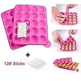 BEIAOSU Cake Pop Formen, 20 Runde Silikon Cake BackformSilikon Lollipop Form Tablett Cake Silikonform + 120 Sticks Stiele für Brownies, Pies Bonbons, Gelee und Schokolade - Pink