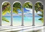 decomonkey Fototapete Meer Insel 350x256 cm XL Tapete Fototapeten Vlies Tapeten Vliestapete Wandtapete moderne Wandbild Wand Schlafzimmer Wohnzimmer Architektur Palmen Tropisch