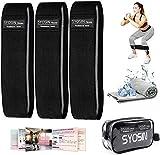SYOSIN Fitnessbänder, [3er Set] Widerstandsbänder Set Loop-Band für Hüften und Gesäß, 3 Widerstandsstufen für Hintern, Beine und Ganzkörpertraining, Resistance Hip Bands mit Kühltuch & Tragetasche