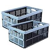 Klappbox Einkaufskorb, 2 Stück Blau, 32 Liter, 51 x 34 x 23 cm, stapelbar, Tragkraft bis ca. 20 kg, Made in EU
