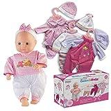 Prextex 12-Stück-Baby-Puppe mit Kleidung Set - Baby Dalia 14-Zoll-Mädchen Puppe mit 4 Nizza Outfit Sets und 3 Kleiderbügel Kleinkinder und Mädchen