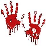 Finest Folia 2 Blutige Hände je 22cm Blutspuren Aufkleber Auto Sticker Frontscheibenaufkleber ((K029) 2er Set Blutige Hände)