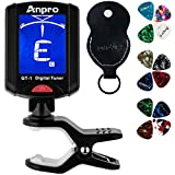 Anpro JT-10 Clip-On Digital Tuner Stimmer + 12 x Plektrum Plektron Picks mit 3 verschiedene Stärken + 1 x Pickholder, Plektrumhalter für Gitarre, Violine, Ukulele, Chromatisches Stimmgerät