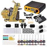Solong Tattoo® Tattoo Maschinen Set 1 Pro Machine 10 Tinten Energieversorgung EU-Stecker Fußpedal Nadeln Griffe Tipps TK116