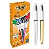 BIC 4-Farb-Druckkugelschreiber 4 Colours Shine - Kugelschreiber in verschiedenen Farben dokumentenecht mit blauer, schwarzer, roter und grüner Mine - Schachtel à 12 Stück