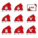 Aipaide Weihnachten Mütze Nikolausmütze 8 Stück Weihnachtsmützen Weihnachtsmann Schneemann Weihnachtsmütze für Kinder und Erwachsene