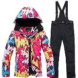 Damen Skianzug Winddicht Wasserdicht Warme Outdoor-Skijacke und Hose((Größe Kleiner, Bitte wählen Sie einen größeren Code))