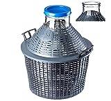 KADAX Glasballon, Gärballon mit Kunststoffkorb, Weite Öffnung, Gummistopfen, Weinballon, Glasgärballon, Flasche, Glasflasche, Gallone, Gärbehälter, Gäreimer (10L)
