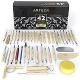 Arteza Töpferwerkzeug-Set   Set mit 42 Modellier-Werkzeugen   Doppelseitige Ton-Werkzeuge   Keramik-Werkzeug mit Holzgriffen   Ideal zum Töpfern