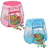 KIDUKU Kinderspielzelt + 100 Bälle + Tasche Spielhaus Bällebad Schloss für drinnen und draußen (Pink)