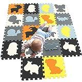 MQIAOHAM puzzelmatten Fuer Kinder spielmatte Baby bodenmatten Schaumstoff schaummatte puzzleteppich Soft Teppich spielmatte krabbelmatte bodenmatte puzzlematte Tiere Mehrfarbig G301018-P058