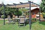 Leco Pergola 3 x 4 m, Aluminium mit Pulverbeschichtung, anthrazit, Dachrohre aus Edelstahlrohr, Edelstahlschraubverbindungen, 100 % Polyester, natur