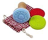 Charming Boxes Keksstempel-Set - 3 Stempel aus Silikon mit Holz-Stempelhalter & Baumwollbeutel zur Aufbewahrung - tolles Ostergeschenk! Plätzchenstempel im Beutel (Holz/Silikon)