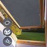 KINLO Dachfensterrollo für Velux Dachfenster 76 x 93cm - P06 Und 406 dunkelgrau Beschichtung Verdunkelungsrollo Sonnenschutzrollo aus Polyester mit Saugnäpfe ohne Bohren 100% blickdicht