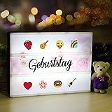 LED Lichtbox, Light Box A4, Leuchtkasten mit 196 Buchstaben, 28 Weiß Symbole und 55 Bunten Emoji für Halloween, Weihnachten, Haus und Geburtstags Deko, Stimmungbeleuchtung, USB und Batterien