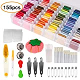 Winzwon Stickgarn Embroidery Floss, Stickerei Set, Kreuzstich Tool Kit 100 Farbfäden Stickerei Starter kit Kreuzstichfäden Stickerei Threads für Bracelets Freundschaftsbänder Kit (155 PCS)
