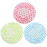 Duschhaube Duschkappe wiederverwendbare wasserdichte für Frauen und Männer 3 Stück in 3 Farben
