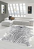 Merinos Zebrateppich Print Teppich in Zebra Optik Zebrafell in Schwarz Größe 75x100 cm