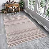 Tapiso FLOORLUX Teppich Flachgewebe Strapazierfähig Sisal Optik Hellgrau Silber Streifen Linien Muster Bordüre Designer Küche 200 x 290 cm
