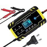 URAQT Autobatterie Ladegerät, 8A 12V/24V KFZ Batterieladegerät Vollautomatisches mit LCD-Bildschirm, Intelligentes Erhaltungsladegerät für Auto, Motorrad, Rasenmäher oder Boot